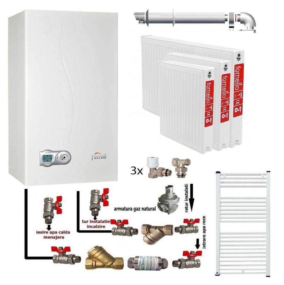 Pachet Centrala termica in condensare Ferroli DivaCondens F24 E, calorifere otel, kit armaturi centrala, robineti calorifer, pentru apartament cu o camera (garsoniera) fornello imagine