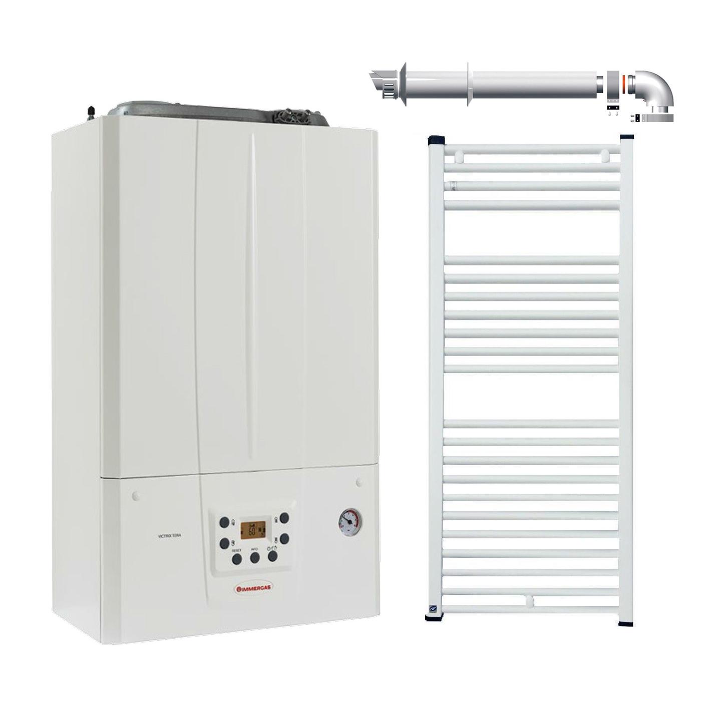 Pachet Centrala termica in condensare Immergas Victrix TERA 24, kit evacuare si radiator baie Fornello 500x800 imagine fornello.ro
