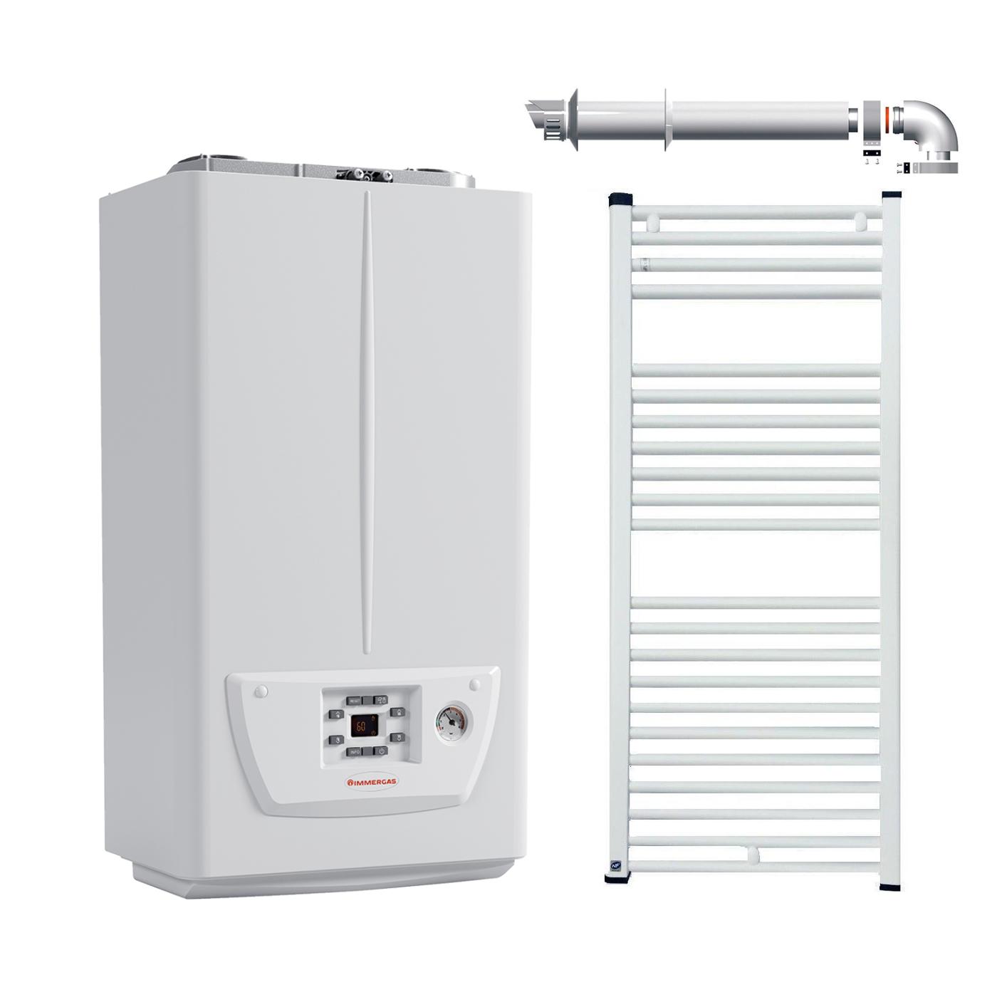 Pachet Centrala termica in condensare Immergas Victrix Omnia 25, kit evacuare inclus si radiator baie Fornello 500x800 imagine fornello.ro