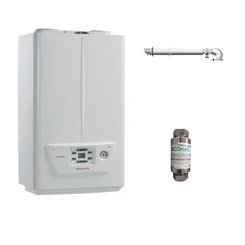 Pachet centrala termica pe gaz in condensare IMMERGAS VICTRIX OMNIA 25, kit evacuare si filtru magnetic anticalcar incluse imagine fornello.ro
