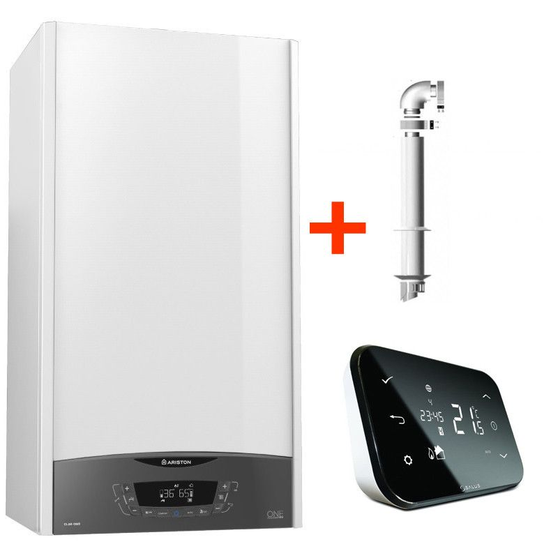 Pachet control inteligent de la distanta Centrala termica in condensare Ariston Clas One 35 EU 35 KW + kit evacuare si termostat Salus IT500 wi-fi imagine fornello.ro