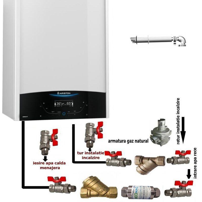 Pachet de baza: centrala termica in condensare Ariston Genus One 35 EU 35 kW + pachet instalare centrala termica murala cu robineti si filtre imagine fornello.ro