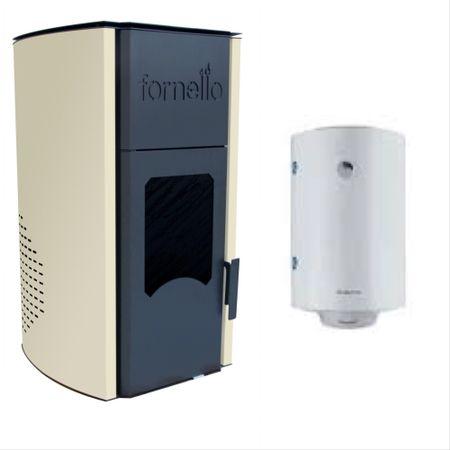 Pachet economic centrala pe peleti Fornello 25 kw, complet echipat pentru incalzire cu pompa de circulatie, vas expansiune , supapa de siguranta, buncar de peleti si boiler temoelectric Sunsystem 100 litri, serpentina marita 9.2 kw imagine fornello.ro