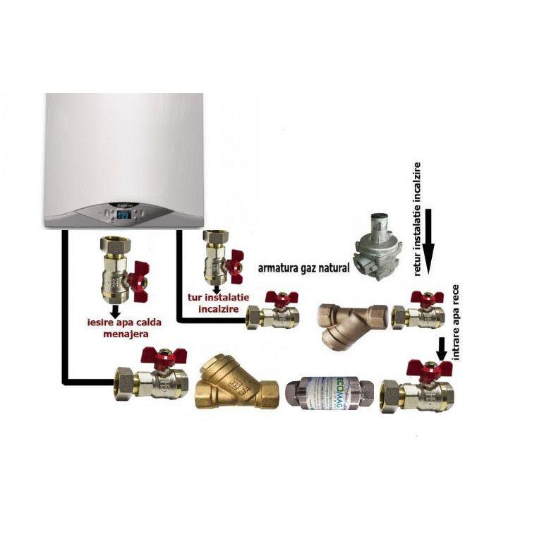 Pachet instalare centrala termica murala cu robineti de trecere, filtre Y si regulator de gaz imagine fornello.ro