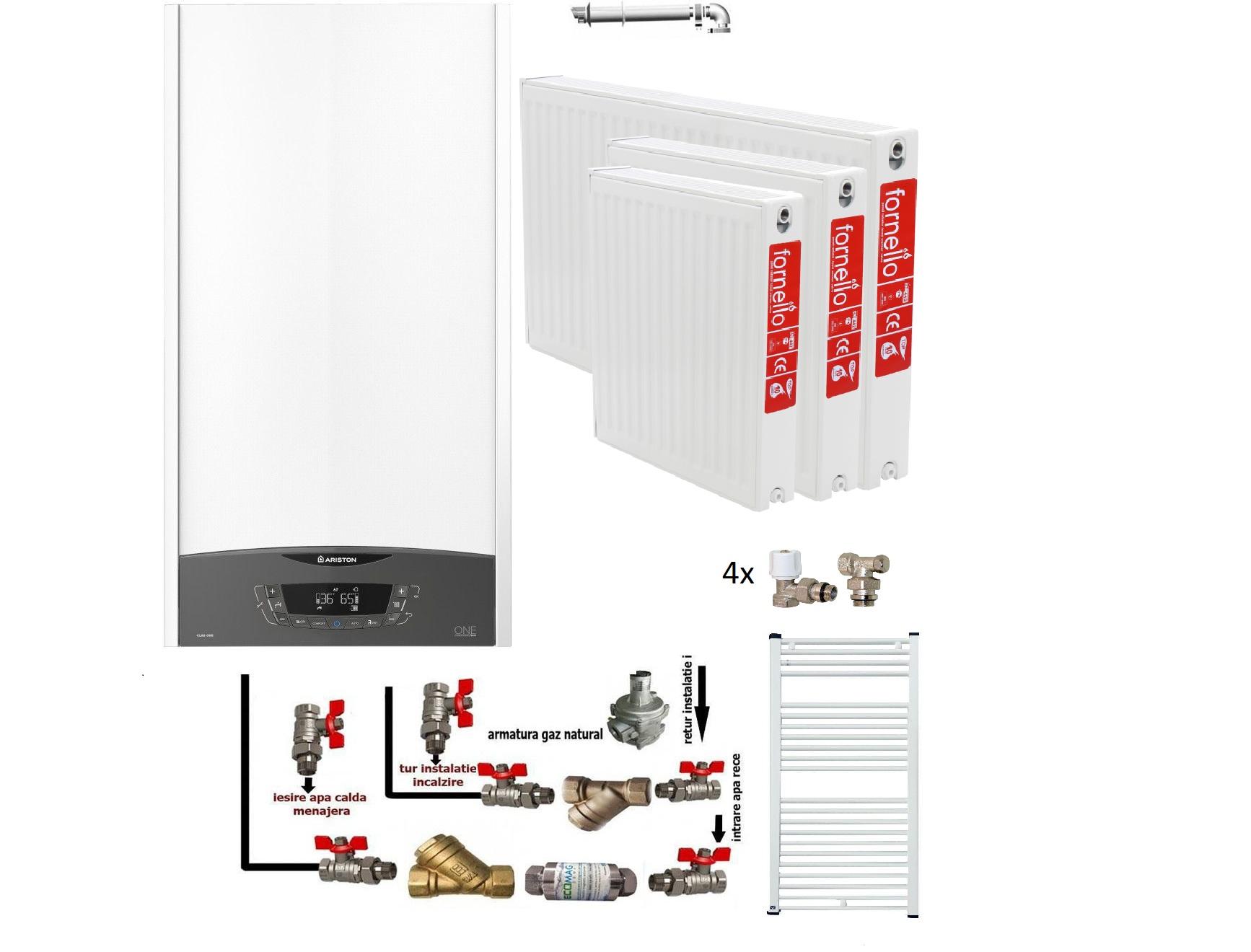Pachet pentru apartament cu 3 camere Centrala in condensare Ariston Clas One 24 kw, calorifer Fornello otel 22x600x1400, 22x600x1200 ,22x600x1000, 22x600x800, pp 400x1000, kit armaturi centrala , robineti calorifer, filtru pentru impuritati bonus fornello imagine