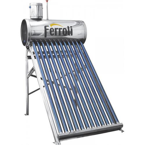Panou solar nepresurizat Ferroli Ecosole JDL-TF18-58/1.8-SS - 18 tuburi si boiler inox 180 litri imagine fornello.ro