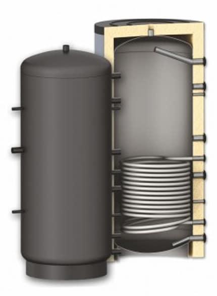 Rezervor de acumulare puffer pentru agent termic cu o serpentina Sunsystem PR 500L, cu izolatie din poliuretan, presiune lucru 3 bar imagine fornello.ro