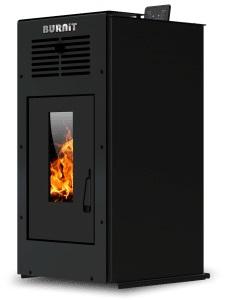 Semineu (soba) pe peleti Burnit Ambient Black 8 kw, cu tiraj fortat include ventilator aer cald, aprindere electrica, recomandat pentru 80 mp imagine fornello.ro