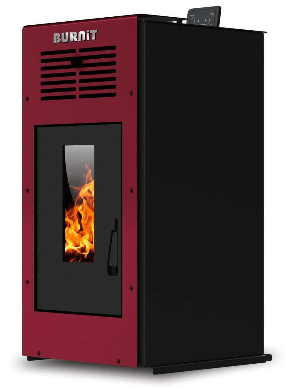 Semineu (soba) pe peleti Burnit Ambient Bordeaux 10 kw, cu tiraj fortat include ventilator aer cald, aprindere electrica, recomandat pentru 100 mp imagine fornello.ro
