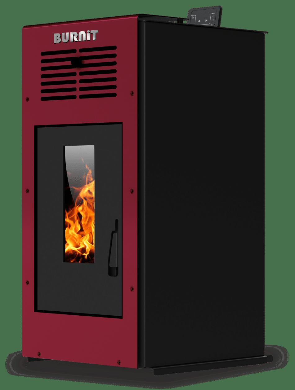 Semineu (soba) pe peleti Burnit Ambient Bordeaux 8 kw, cu tiraj fortat include ventilator aer cald, aprindere electrica, recomandat pentru 80 mp imagine fornello.ro
