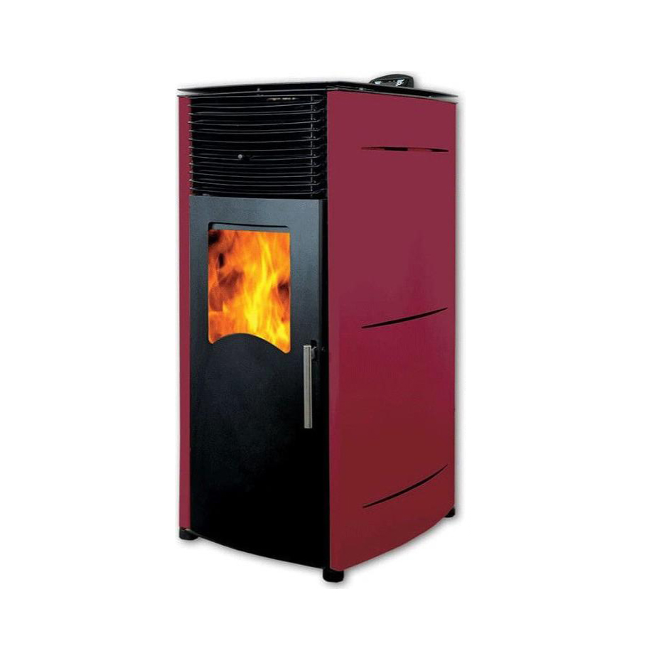 Semineu (soba) pe peleti cu tiraj fortat Fornello Stela 10 KW Bordeaux, include ventilator aer cald, aprindere electrica, telecomanda, recomandat pentru 100 mp fornello imagine