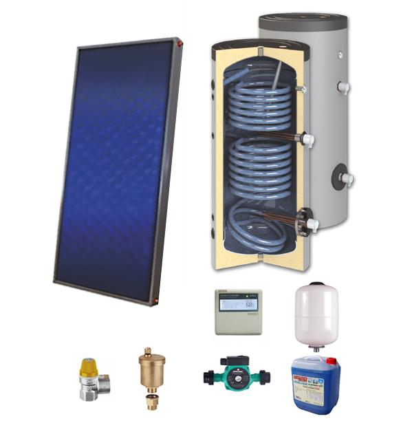 Sistem solar presurizat, panou solar plan Sunsystem PК SL FP 2.0, boiler cu 2 serpentine si rezistenta electrica Sunsystem SON 150 litri, pompa 25-60, controller, vas expansiune, antigel, supapa 1/2, aerisitor 1/2 fornello imagine