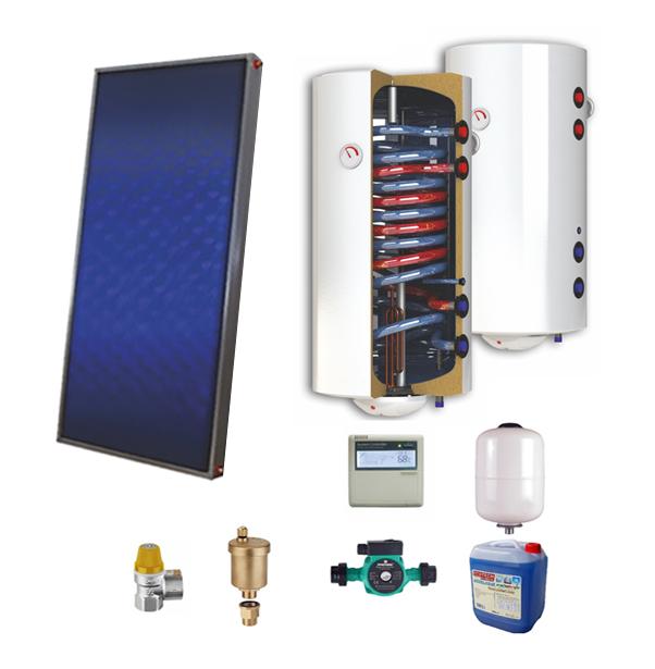 Sistem solar presurizat, panou solar plan Sunsystem PК SL FP 2.0, boiler cu 2 serpentine si rezistenta electrica Sunsystem 200 litri, pompa 25-60, controller, vas expansiune, antigel, supapa 1/2, aerisitor 1/2 imagine fornello.ro