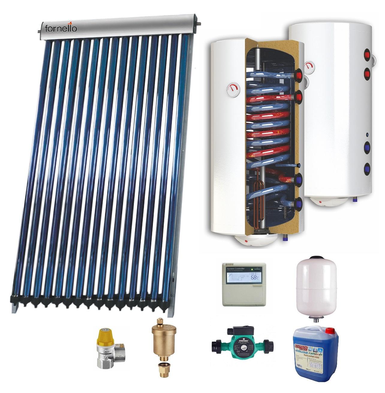 Sistem solar presurizat , panou Sunsystem VTC 15, boiler cu 2 serpentine si rezistenta electrica Sunsystem 120 litri, pompa 25-60, controller, vas expansiune, antigel, supapa 1/2, aerisitor 1/2 imagine fornello.ro