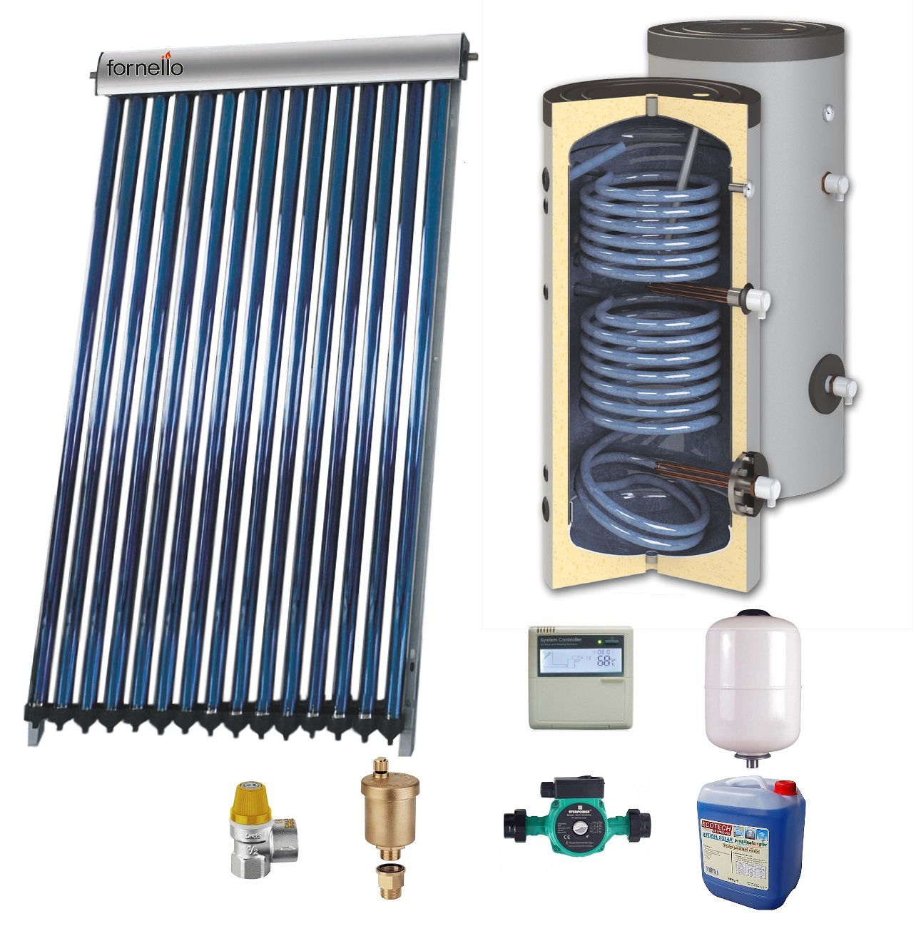Sistem solar presurizat , panou Sunsystem VTC 30 tuburi, boiler cu 2 serpentine si rezistenta electrica Sunsystem SON 200 litri, pompa 25-60, controller, vas expansiune, antigel, supapa 1/2, aerisitor 1/2 imagine fornello.ro