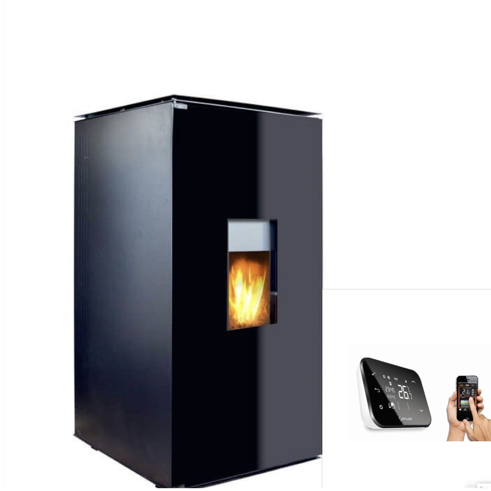 Termosemineu tip centrala termica pe peleti cu agent termic Fornello 25 kW Glass WI-FI cu control prin smartphone, echipat cu pompa, vas expansiune, supapa siguranta, telecomanda imagine fornello.ro