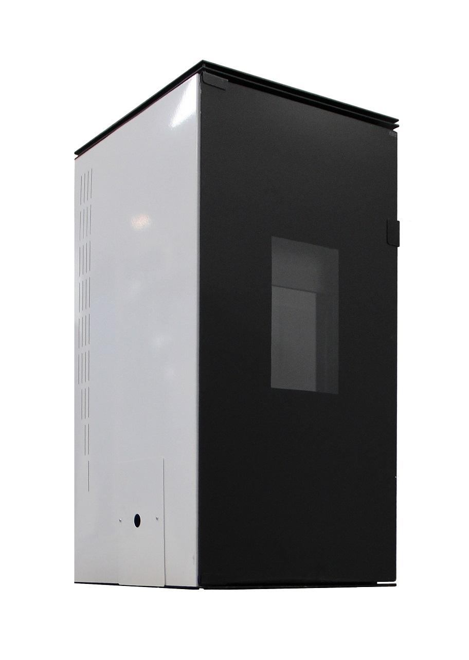 Termosemineu pe peleti cu agent termic Fornello 25 kW White Glass Special Edition, complet echipat pentru incalzire cu pompa, vas expasniune, supa asiguranta, telecomanda, sticla neagra imagine fornello.ro