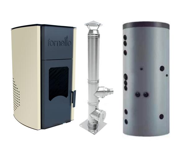 Termosemineu peleti Fornello Royal 25 kw, cos de fum inox izolat dn 120 6 metri si puffer 500 litri imagine fornello.ro