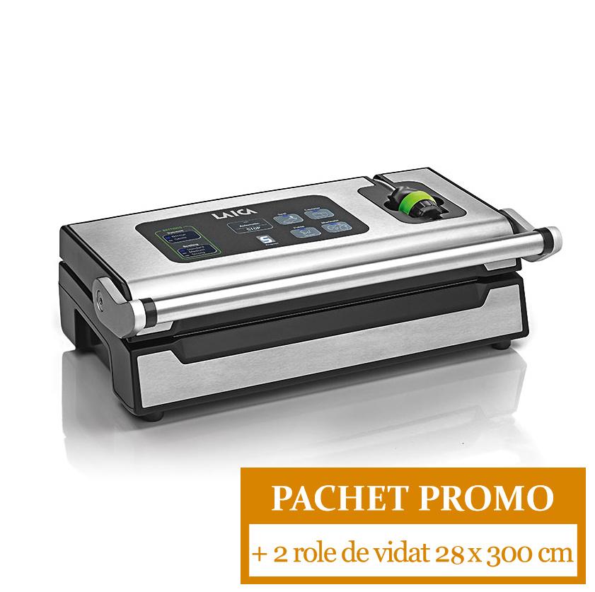 Pachet PROMO: Aparat de ambalare in vid Laica VT3240 XPro + 2 role de vidat 28 x 300 cm laicashop.ro 2021