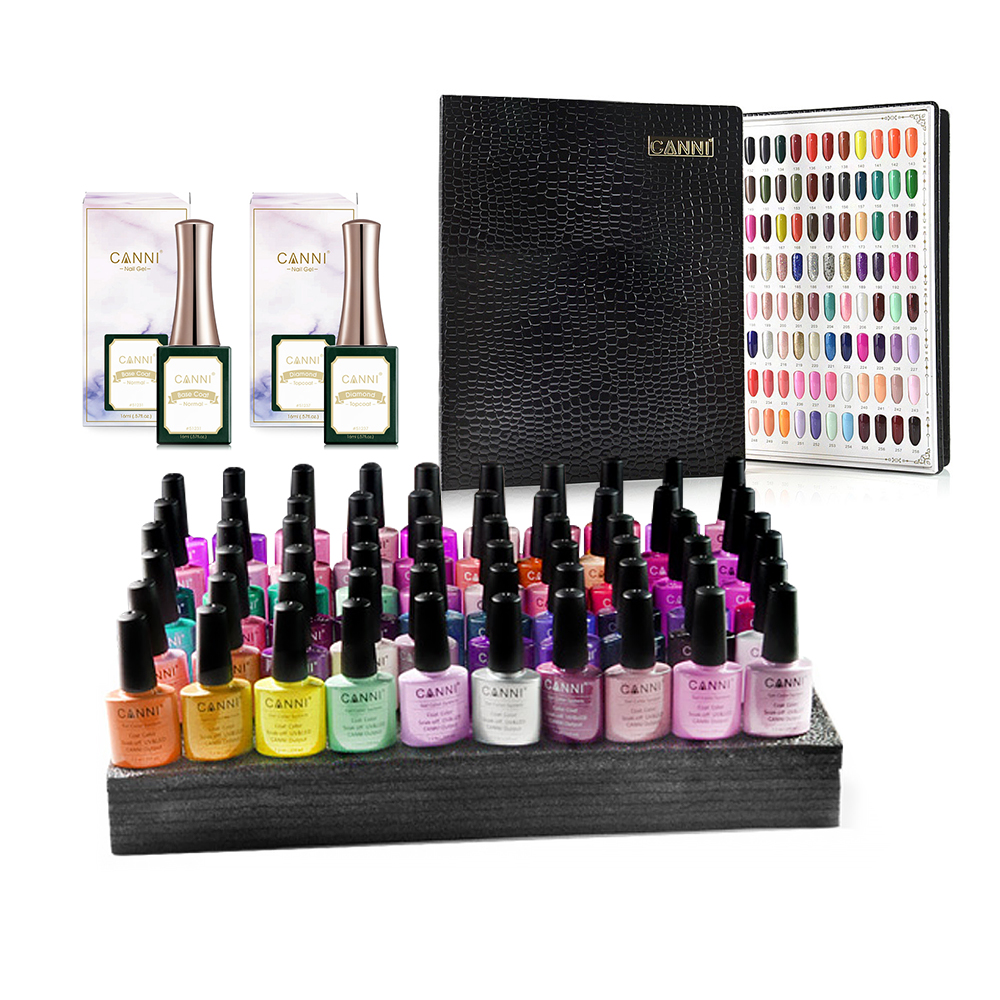 Kit Oja Semipermanenta Canni, 60 Culori, K2 + Peel Off Base Coat + No-Wipe Topcoat + Paletar imagine produs