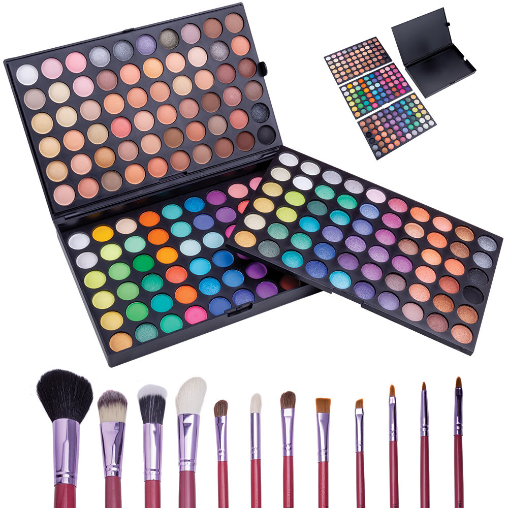 "Kit makeup ""I am Fabulous"" trusa cu 180 farduri si set 12 pensule"