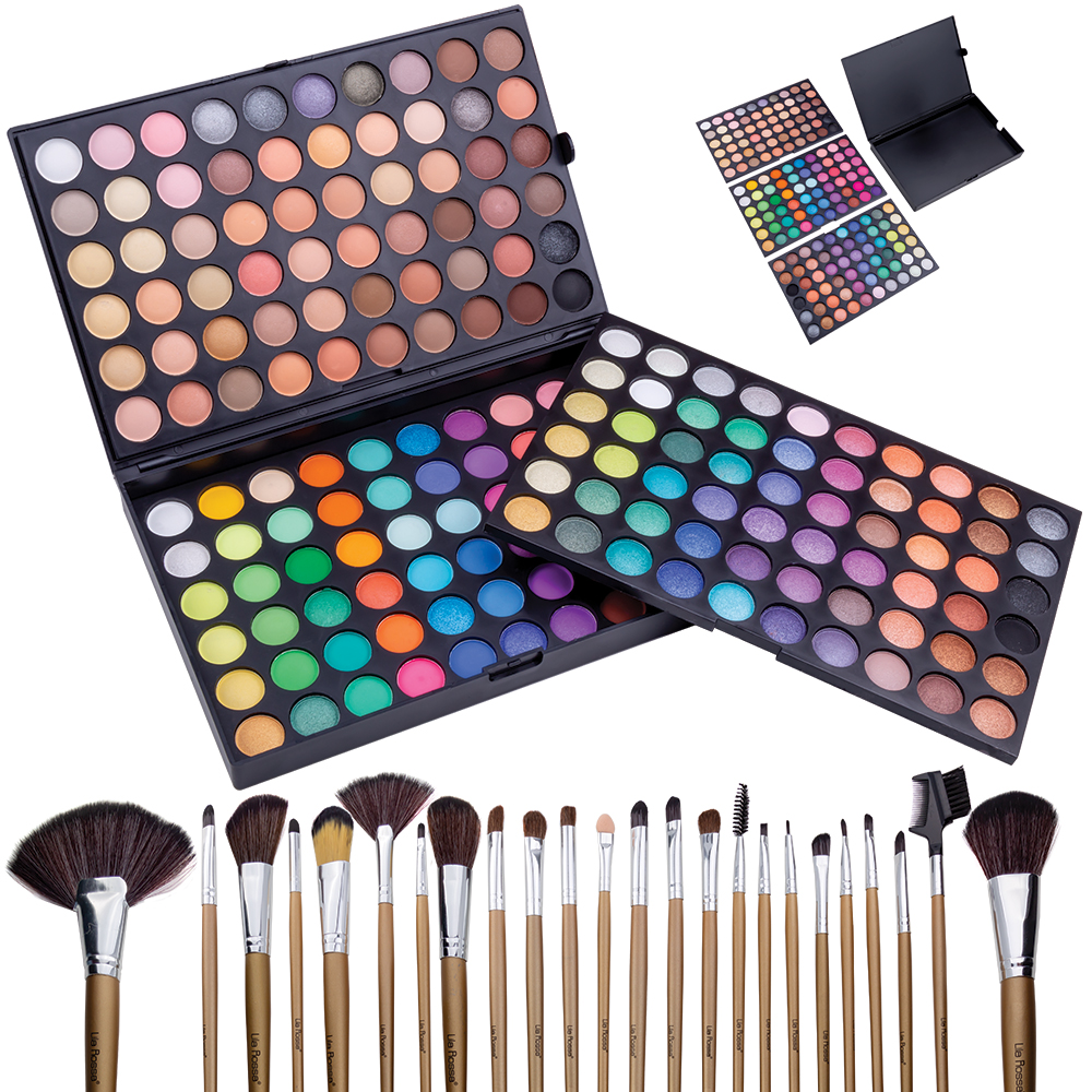 "Kit makeup ""Fashion Icon"" trusa cu 180 farduri si set 24 pensule"