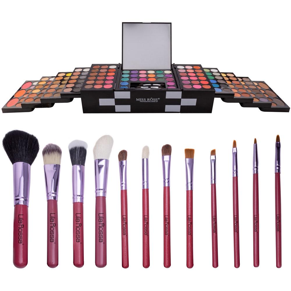 """Kit Makeup """"Glam Girl"""" Trusa Cu 148 Farduri Si Set 12 Pensule Cu Husa imagine"""