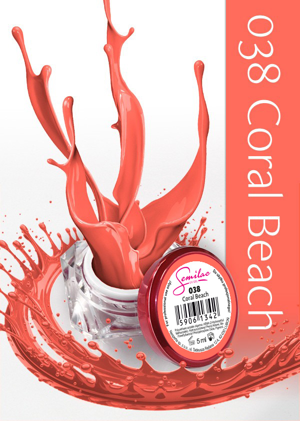 Gel Uv Color Semilac, Coral Beach 038 imagine produs