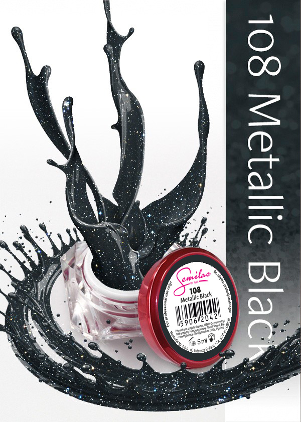 Gel Uv Color Semilac, Metallic Black 108 imagine produs