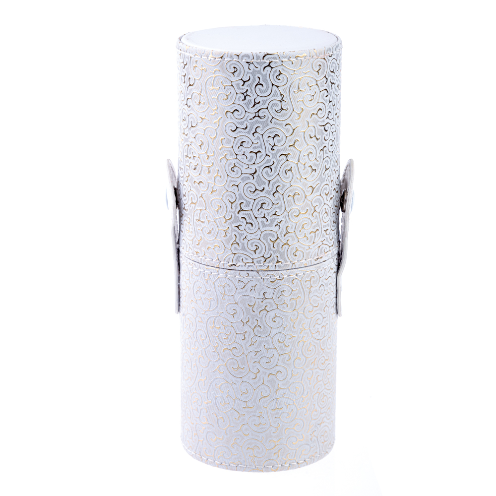 Tub Depozitare Pensule Machiaj, Alb Cu Auriu, 18 Cm X 7 Cm imagine produs