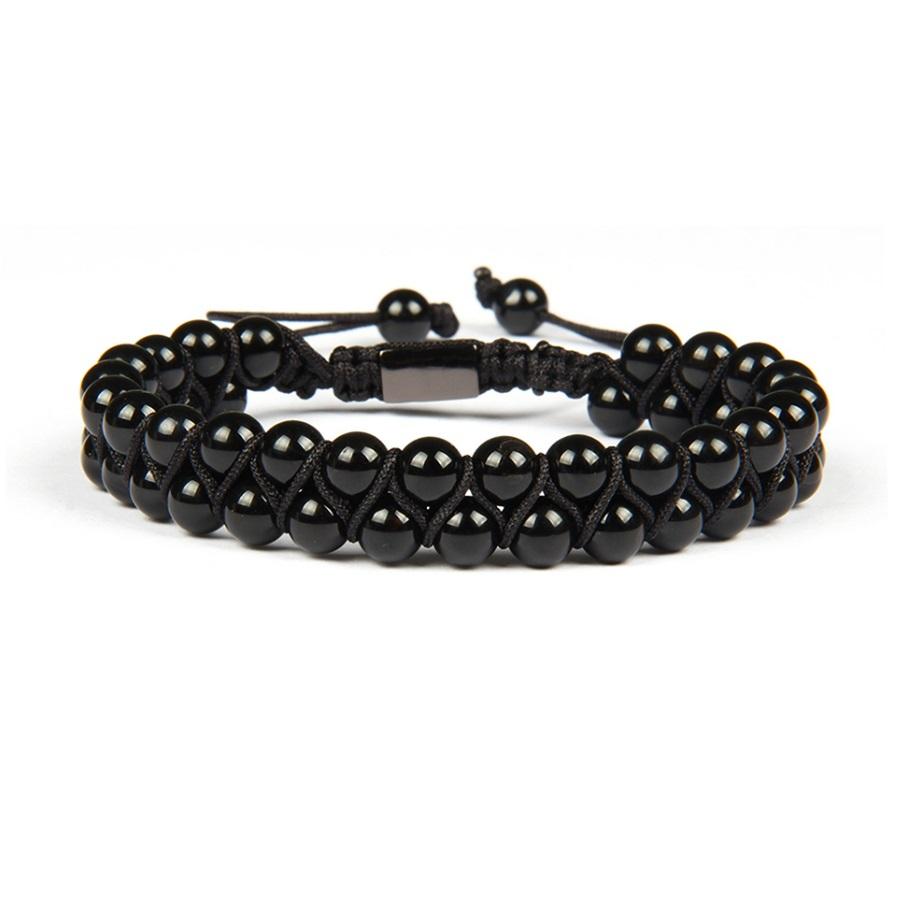Brooks Double Round Black Beads