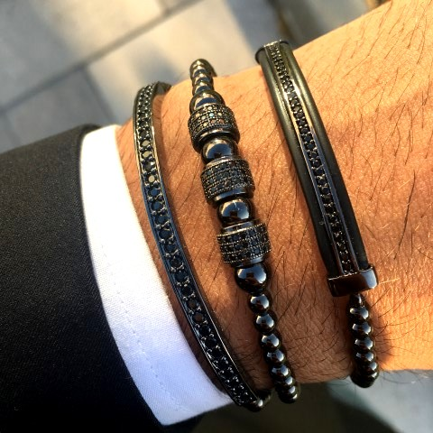 All Black Set 3 Brooks Bracelets