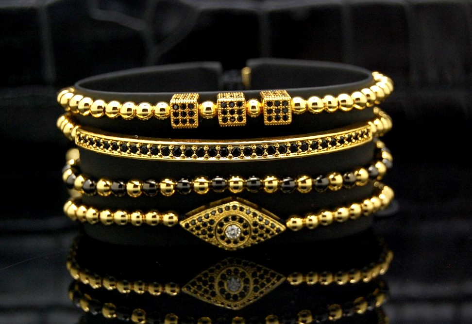 Luxury Set 4 Brooks Gold 14K Bracelets