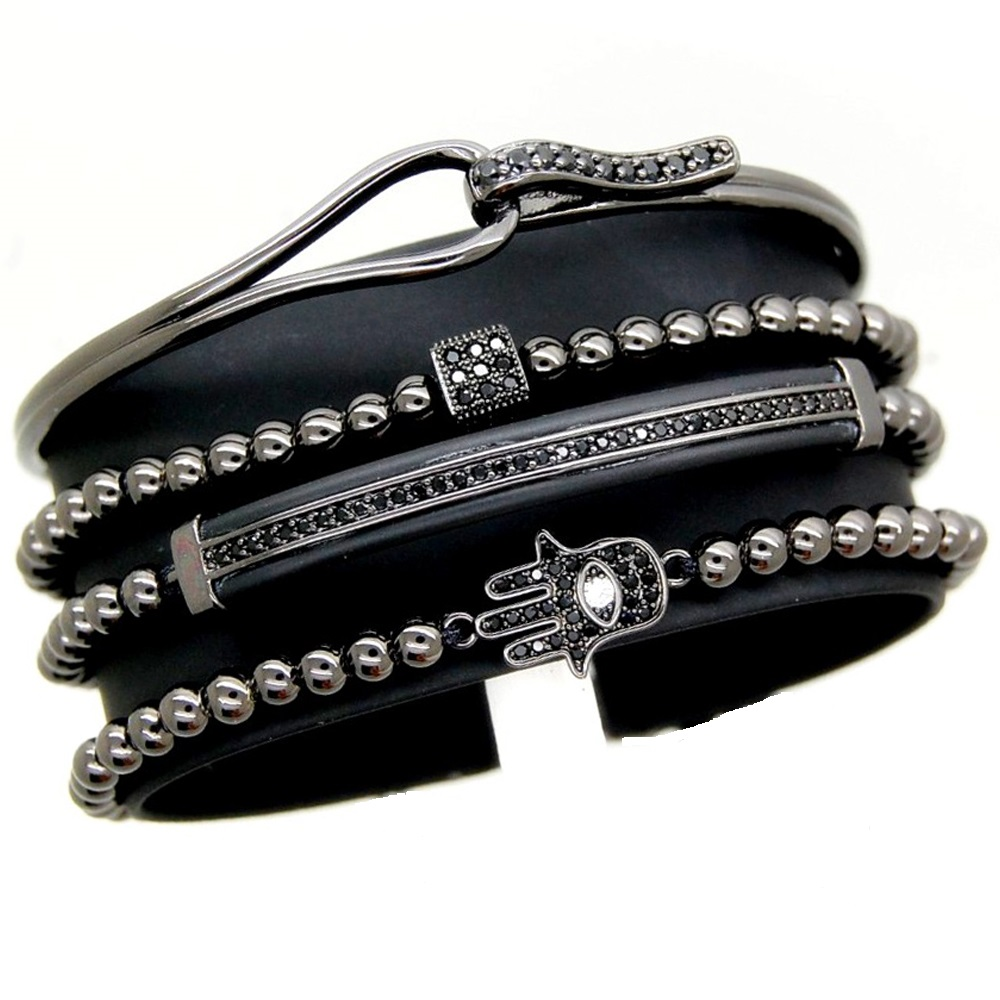 All Black Set 4 Brooks Zircon Bracelets