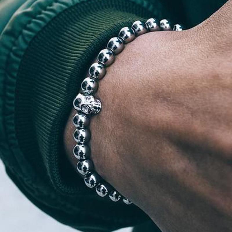Brooks Silver Skull Bracelet