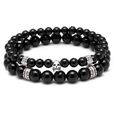 Set 2 Bratari Brooks Skull Black Agate