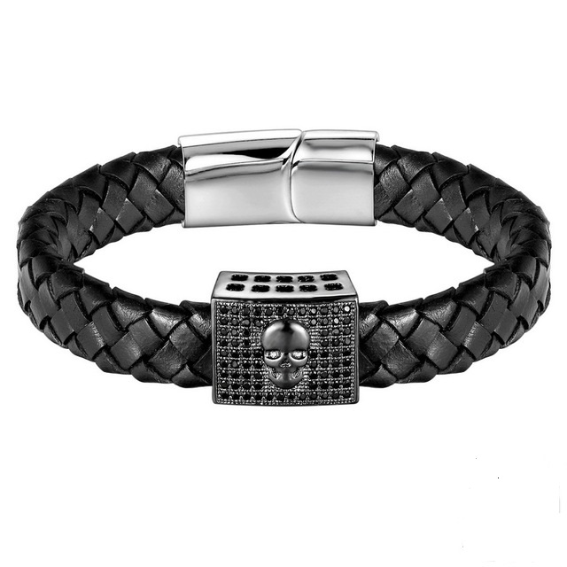 Brooks Knitted Leather Black Zircon Skull