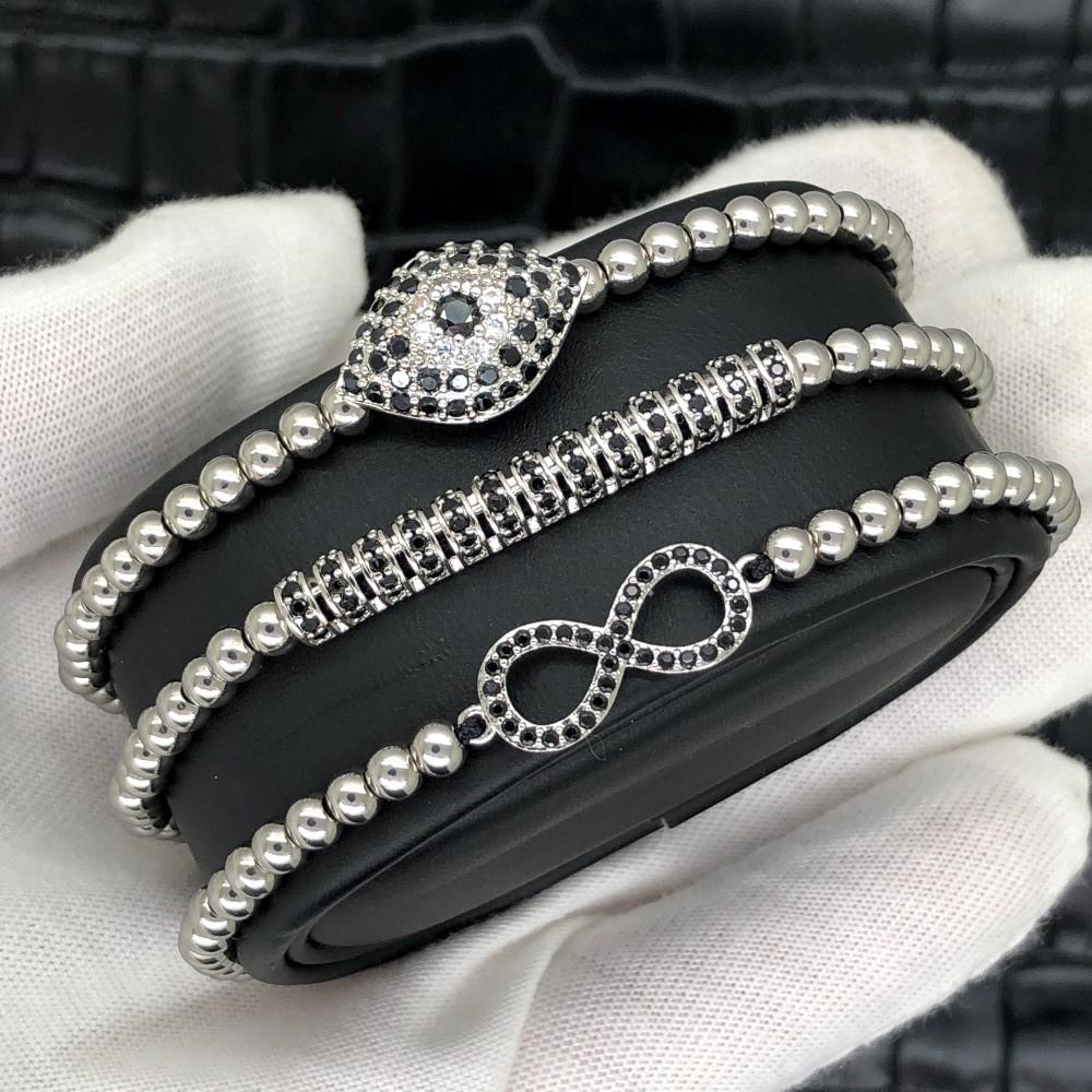 Brooks Luxury Set Silver Infinity Bracelets