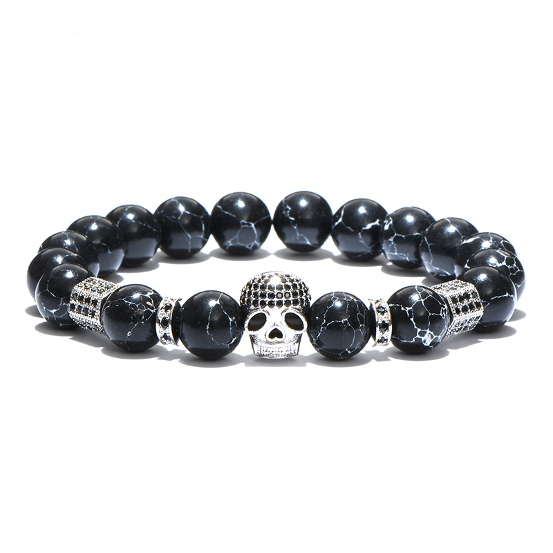 Brooks Skull Black Zircon Natural Stones