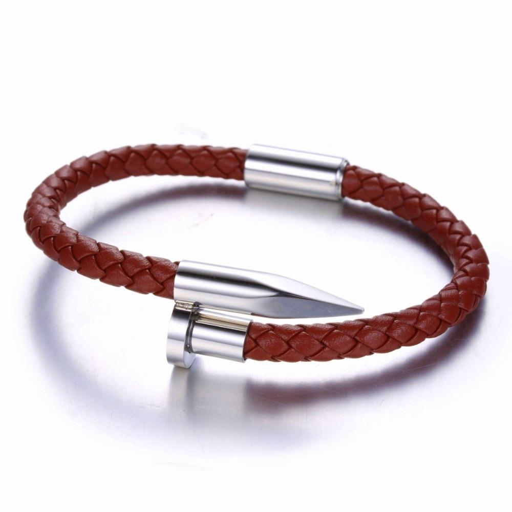 Brooks Women Silver Nail Bracelet,Brown