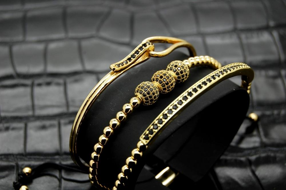 Luxury Set 3 Brooks Gold Woman Bracelets