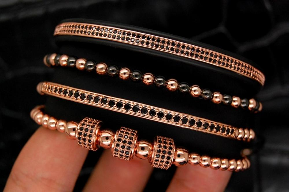Luxury Set 4 Rose Gold 14K Brooks Bracelets