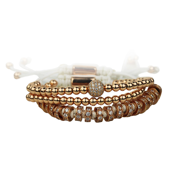 Luxury Set 3 Rose Gold Brooks Zircon Bracelets