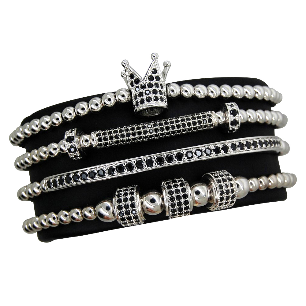 Luxury Set 4 Silver Imperator Brooks Bracelets
