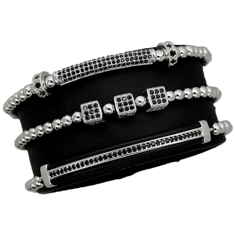 Luxury Set 3 Silver Brooks Bracelets
