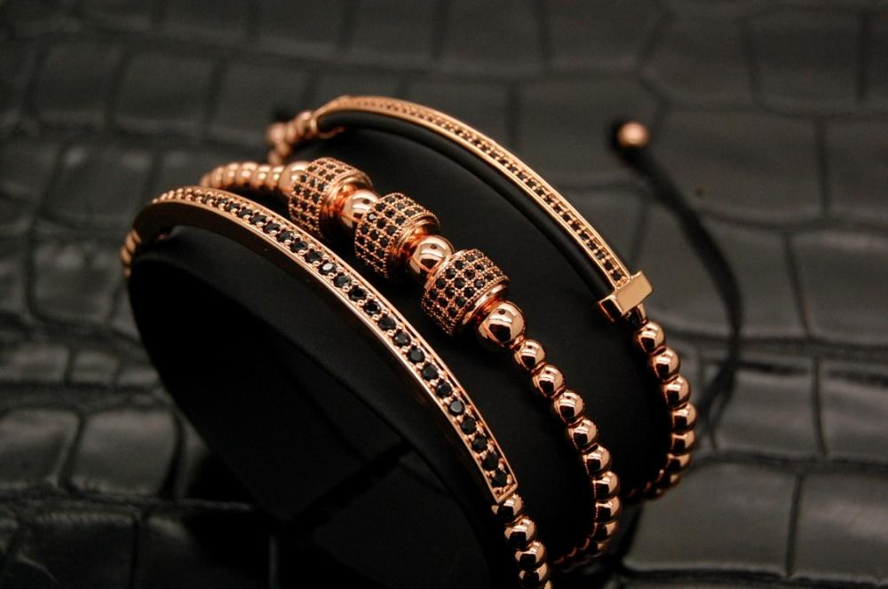 Luxury Set 3 Rose Gold Men Brooks Bracelets
