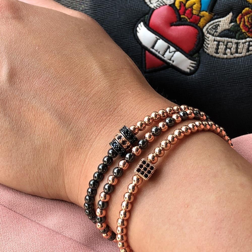 Luxury Set 3 Rose Gold Zircon Elements Ladies