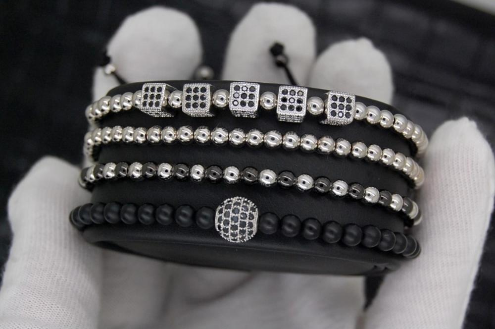 Luxury Set 4 Silver Brooks Bracelets