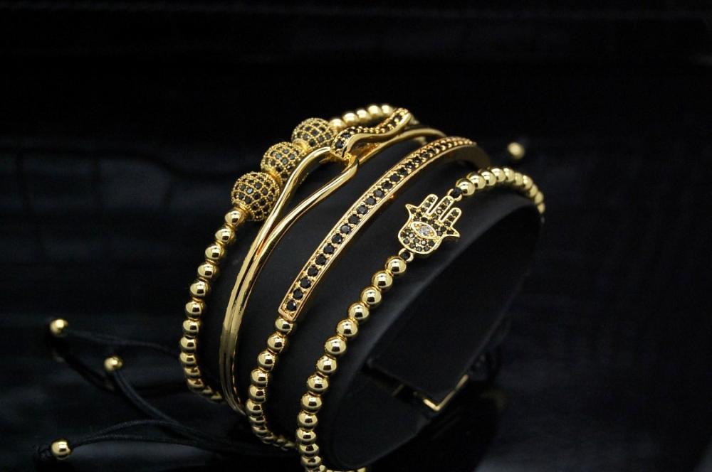 Luxury Set 4 Brooks Gold 14K Bracelets Lady