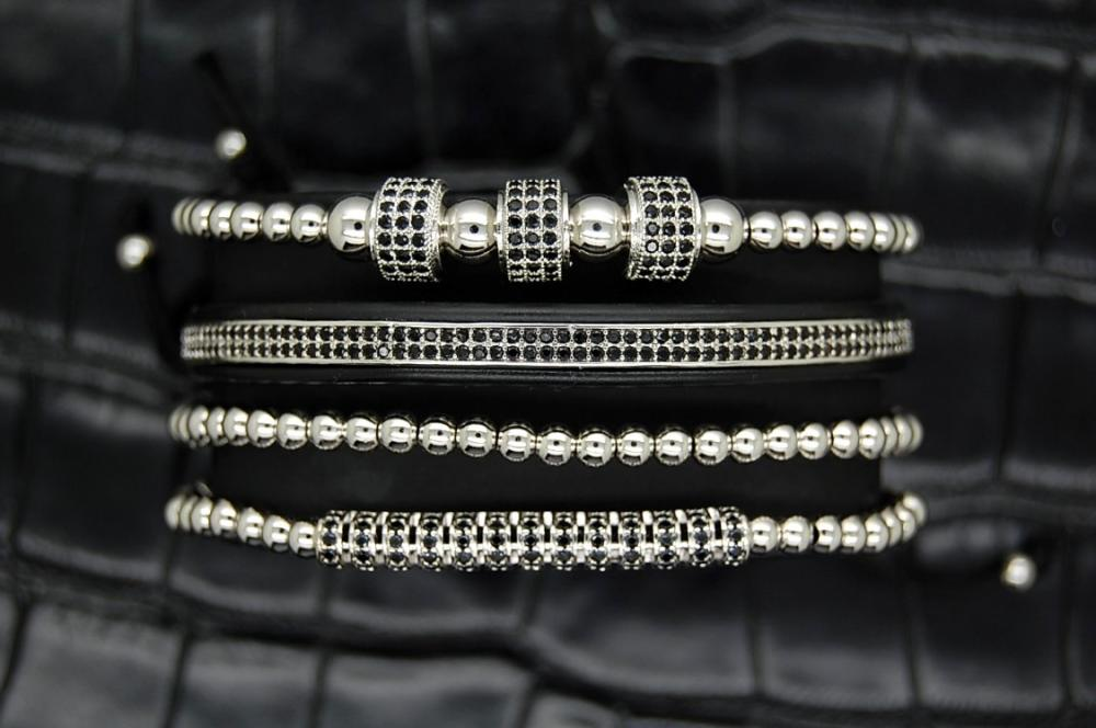 Luxury Set 4 Brooks Silver Bracelets